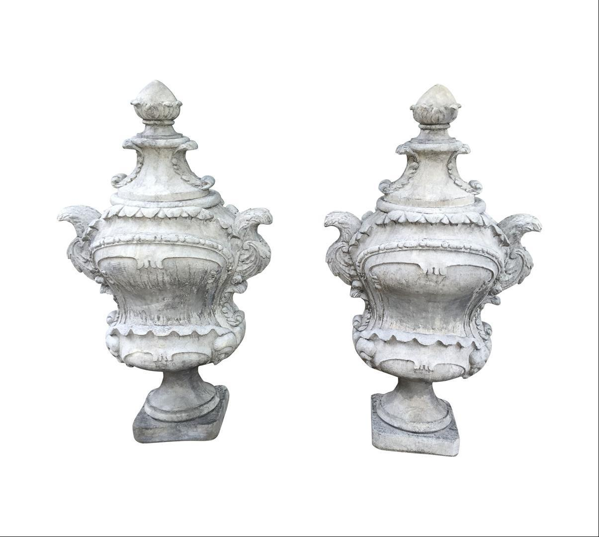 Pair of Large Cast Stone French Garden Finials from