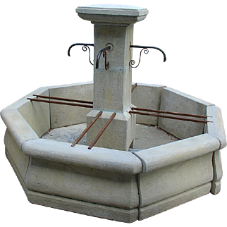 A Cast Stone Octogonal Center Fountain from France