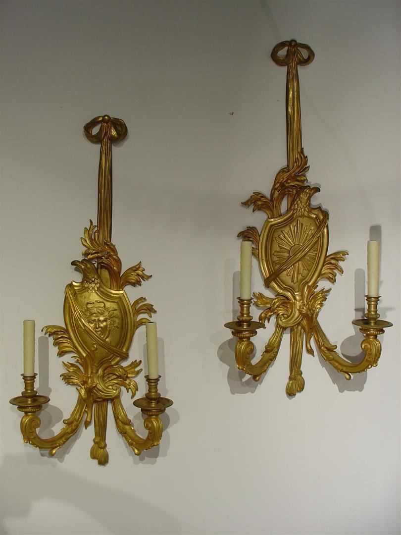 Pair of Large 19th Century Bronze Doré French Sconces of Medusa and the Sun