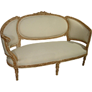 Beautiful Antique French, Parcel Paint Settee with Musical Motifs