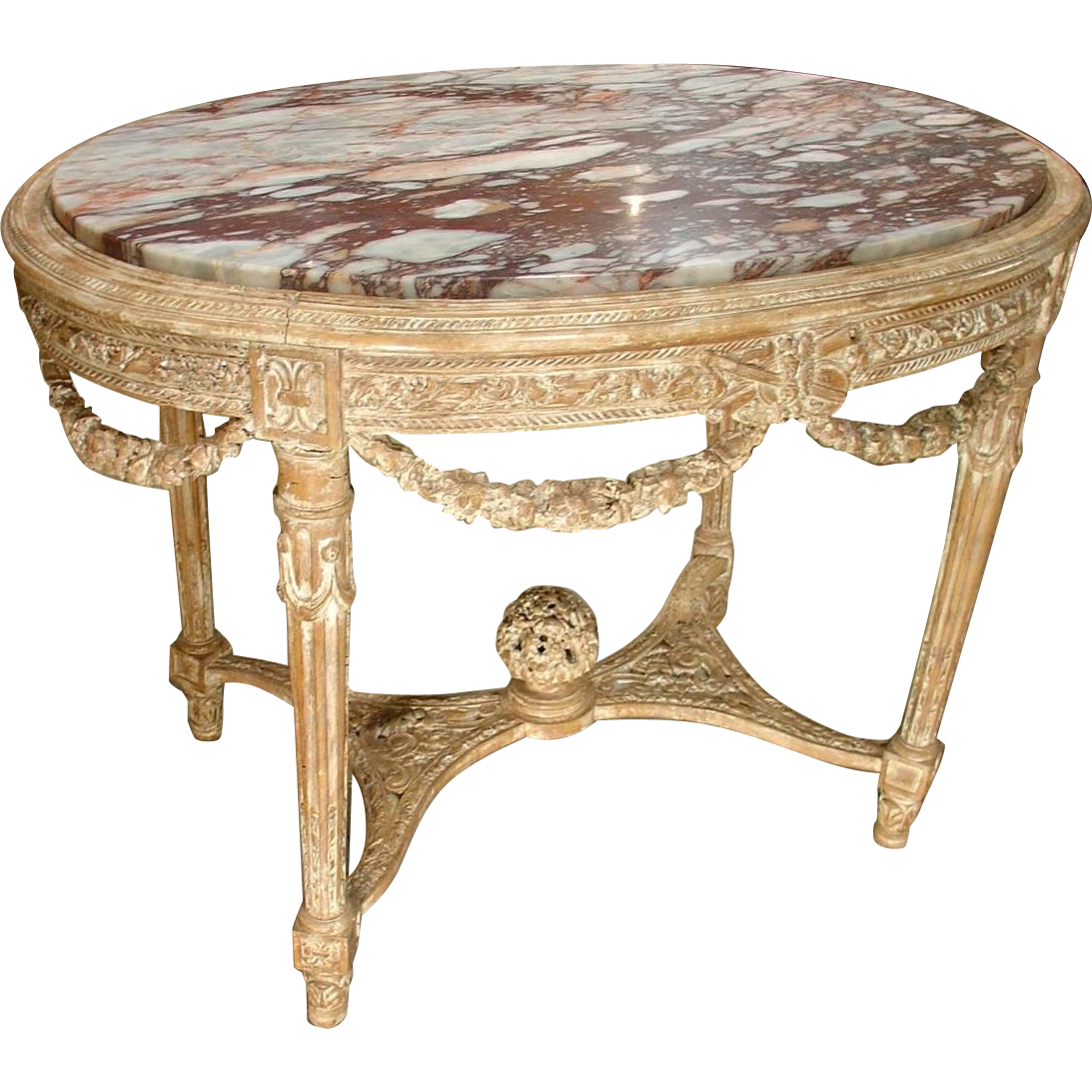 Antique Parcel Paint Louis XVI Center Table with Musical Motifs