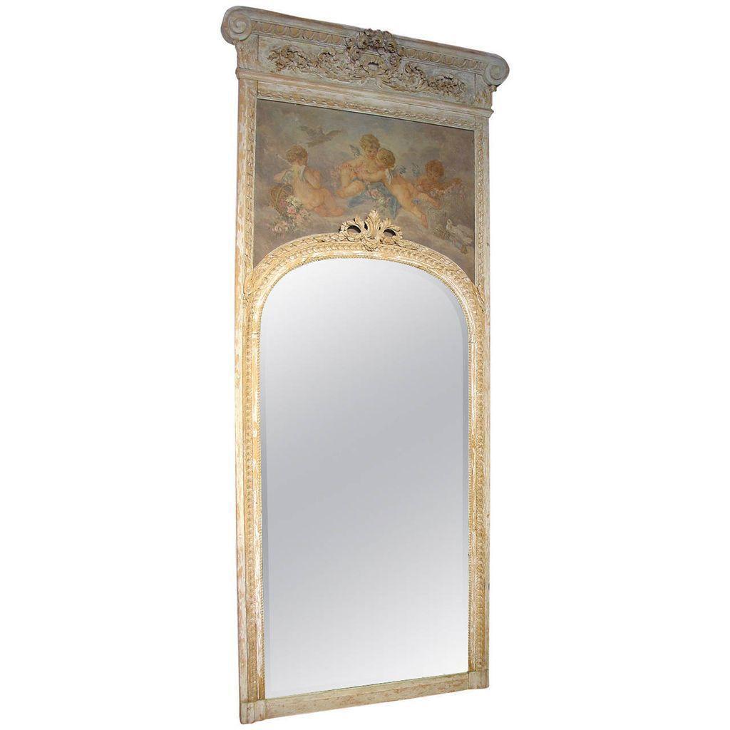 Monumental Antique, French Parcel Paint Trumeau Mirror
