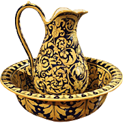 Antique Nevers Pitcher and Bowl from France, Circa 1885