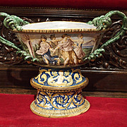 18th Century Italian Faience Urn on Pedestal