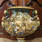 A Large Antique Italian Faience Urn, 19th Century