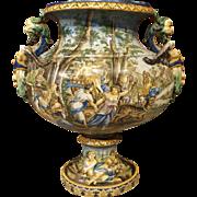 A Large Antique Italian Faience Urn, 19th Century