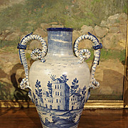 An Antique Blue and White Vase from Savona, Italy