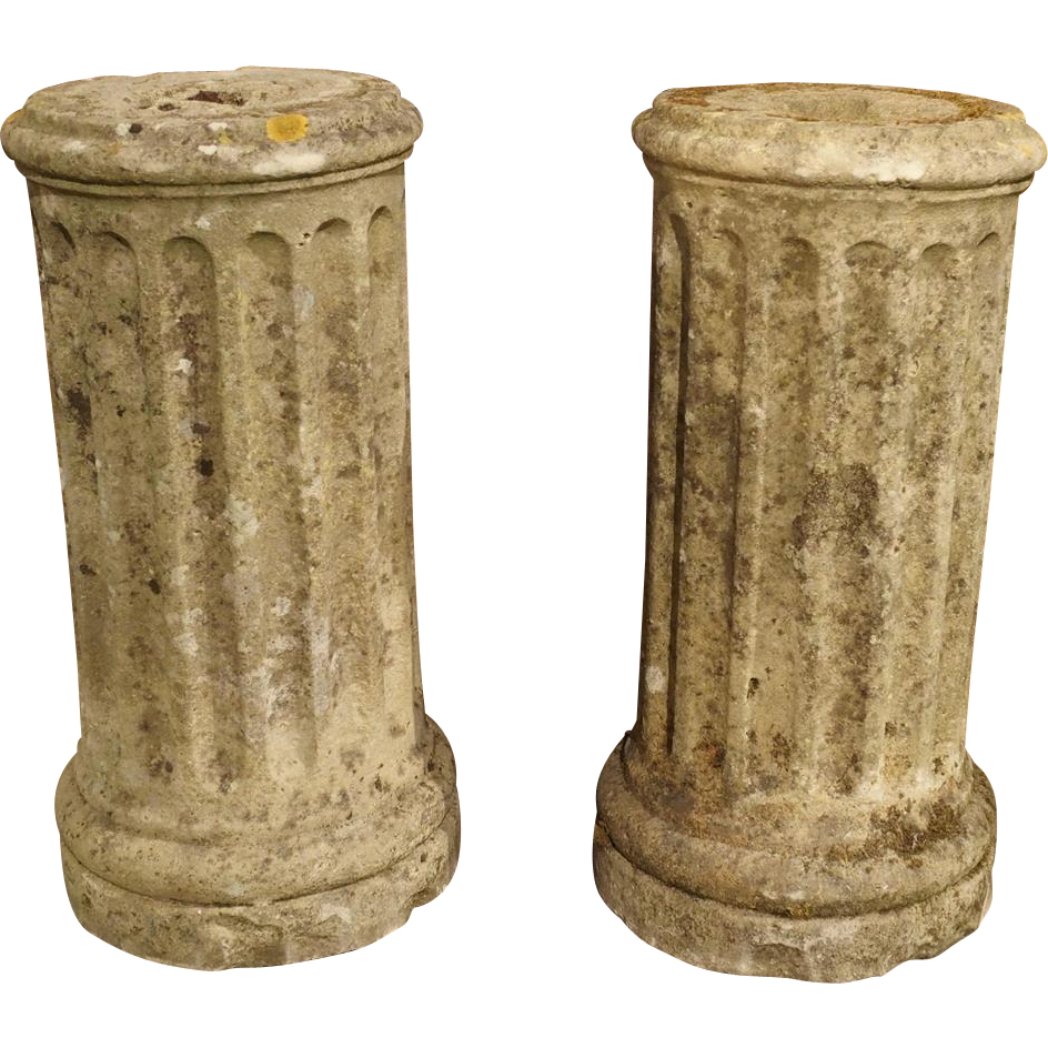 Pair of Small Period Louis XVI Stone Columns, C.1785