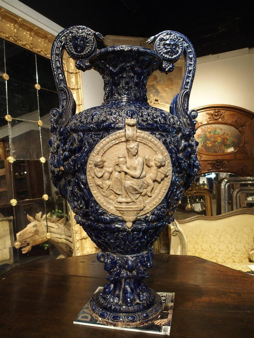 A Large 19th Century Glazed Terra Cotta Vase from France