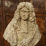 Bust of Moliere with Antique Stone Finish from France