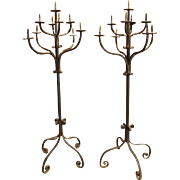 Pair of Antique Forged Iron Torcheres from France, 19th Century