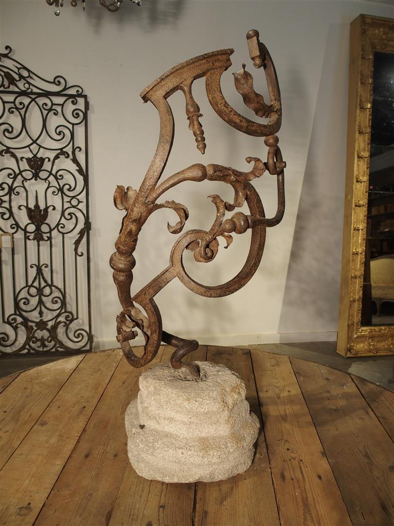 Beautiful 17th Century Forged Iron Stair Railing Fragment from France