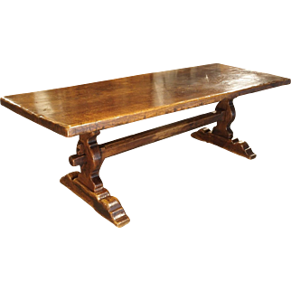 Antique Oak Dining Table from France, Late 1800s