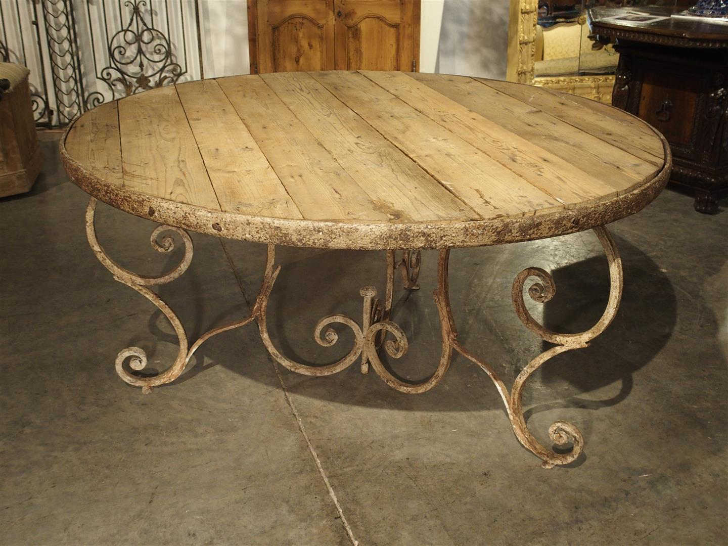 Round Wooden Top Dining Table with 19th Century Iron Base, France