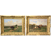 Pair of Antique French Horse Paintings by Quinton 1851-1921