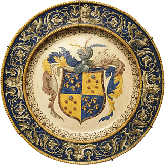 Antique Armorial Plate from Corsica, 19th Century