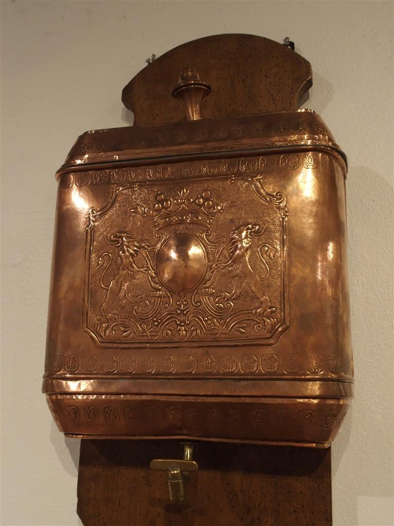 antique french copper lavabo with original wood mount. Black Bedroom Furniture Sets. Home Design Ideas