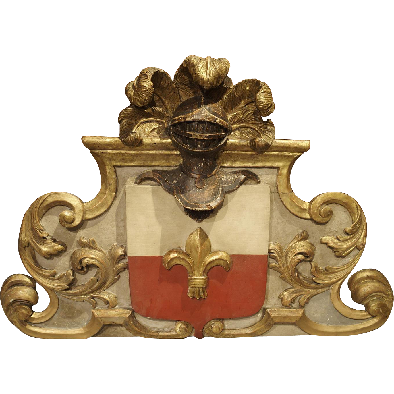 Painted Antique French Architectural Panel from the Early 1700s