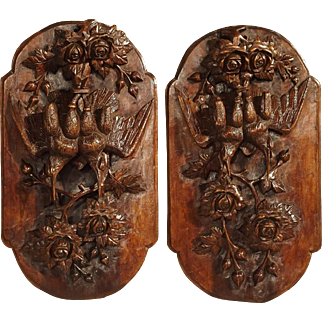 Pair of Antique French Walnut Wood Hunt Plaques Circa 1910
