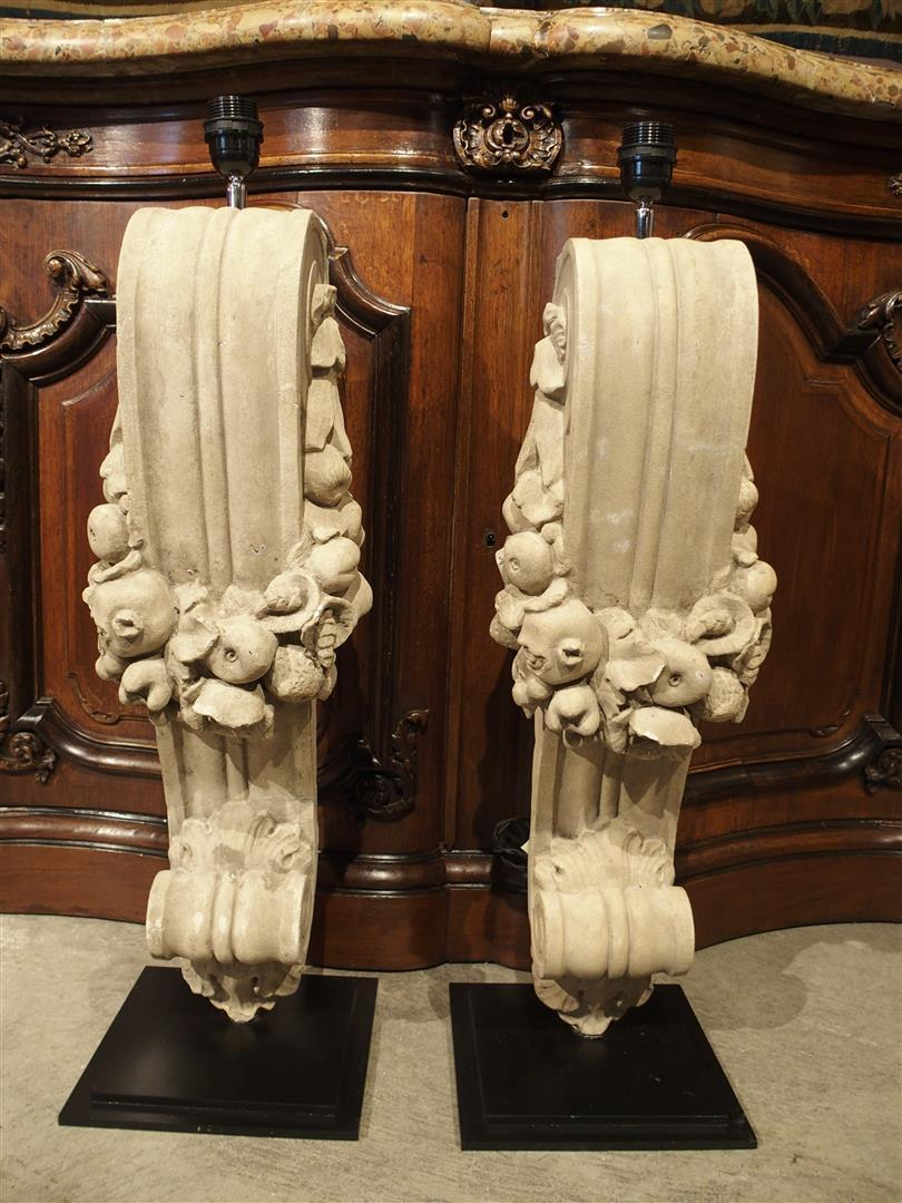 Pair of Patinated Terra Cotta Lamps from France, C.1900