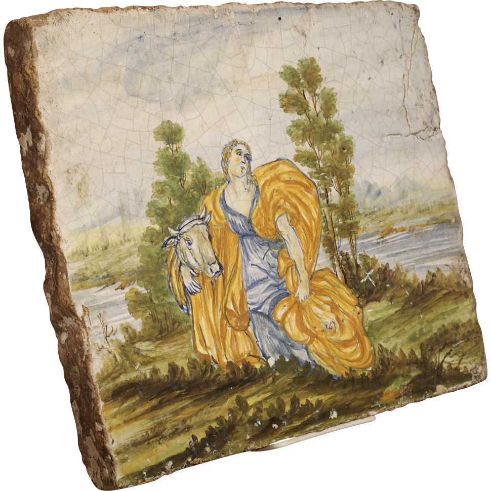 Antique Painted Tile From Italy 17th Century Le Louvre