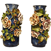 Pair of Deep Blue Antique Barbotine Vases from France, Jean Pointu