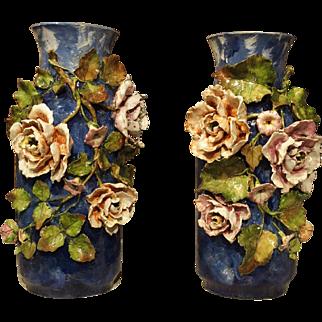 Pair of Deep Blue Antique Barbotine Vases from France, Jean Pointu