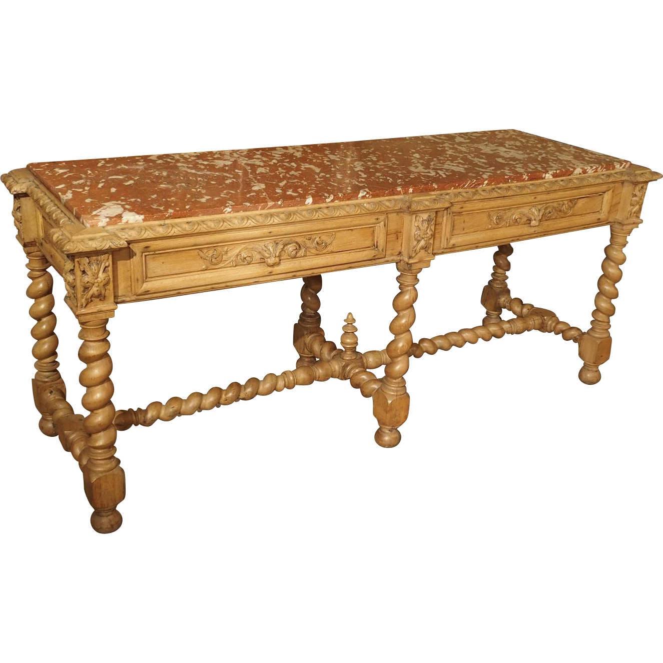 Antique French Oak Console Table with Languedoc Rouge Marble Top, 1800s