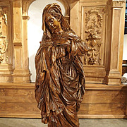 17th Century Carved Wooden Statue from France