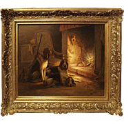 Signed Antique Oil on Canvas, Dogs by Fireplace, 19th Century