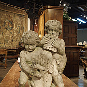 1900's Cast Reconstituted Stone Putti and Dolphin Statue/Fountain from France
