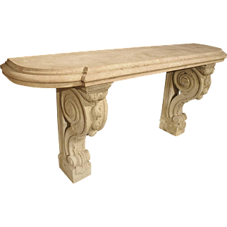Antique Marble Top Console Table from South-East France