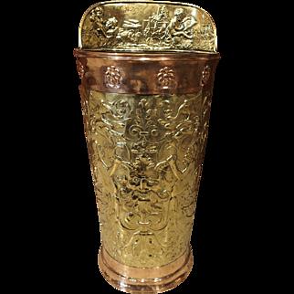 19th Century Brass and Copper French Umbrella Holder