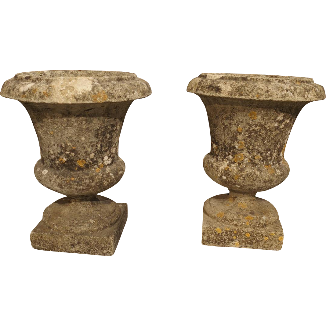 Pair of Small Reconstituted Stone Urns from France