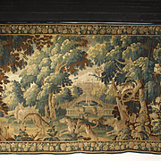 Late 17th Century Aubusson Tapestry, Dogs Chasing Wolf