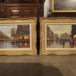 A Pair of Parisian Street Scene Paintings, 1900s