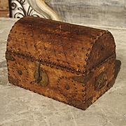 Small Antique European Leather Tabletop Trunk