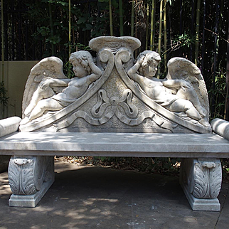 Winged Cherubs Carved Limestone Garden Bench from Italy