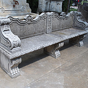 Carved Limestone Garden Bench from Northern Italy