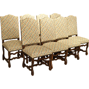Set of Eight Early 1900s French Oak Os De Mouton Dining Chairs