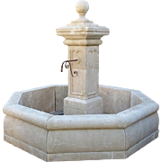 Carved Octagonal Limestone Center Fountain from Provence