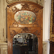 19th Century Oak Louis XV Style Trumeau Mirror