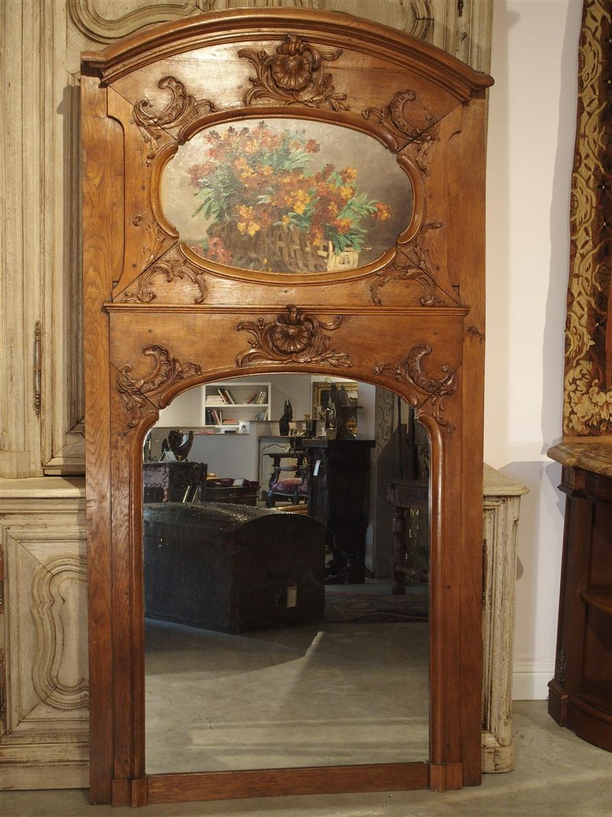 19th Century Oak Louis Xv Style Trumeau Mirror Le Louvre