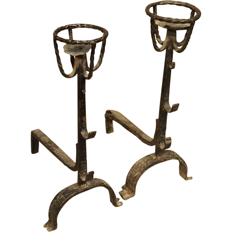 Pair of Rustic Antique French Andirons, Circa 1700