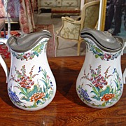 Pair of Antique Faience Pitchers with Pewter Lids - Red Tag Sale Item