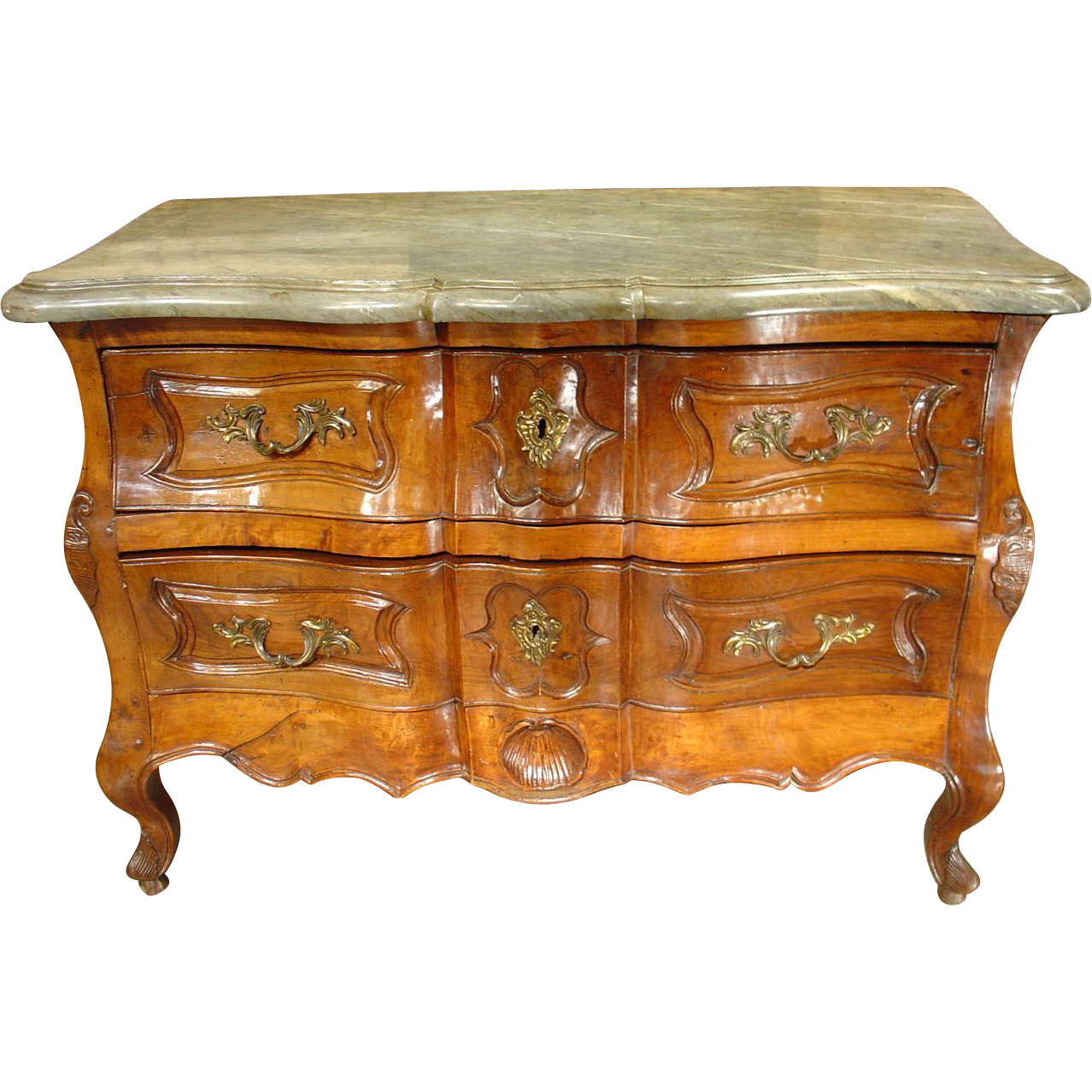 Unusual 18th Century Walnut Wood Commode from Languedoc with Original Saint Cyr Stone Top
