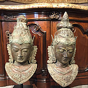 Pair of Indonesian Bronze Busts on Black Bases