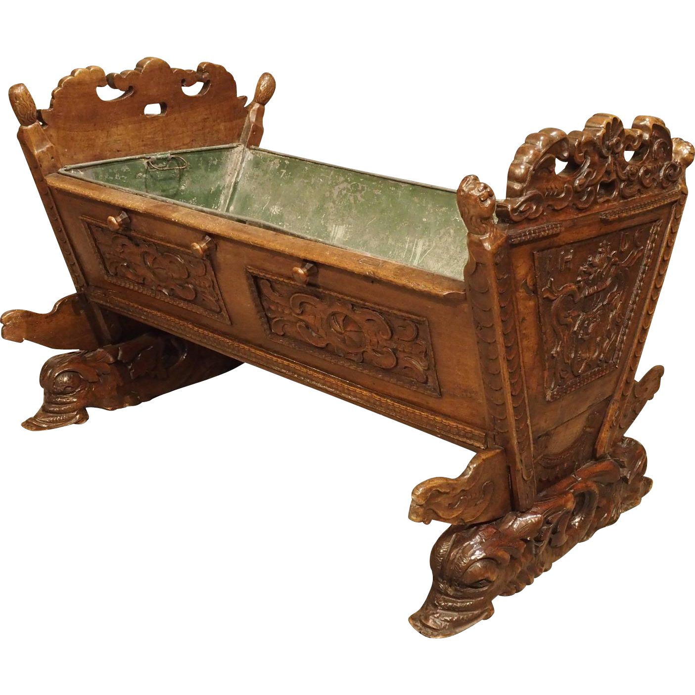 Beautiful 18th Century French Walnut Wood Crib with Family Coat of Arms- Bourgogne