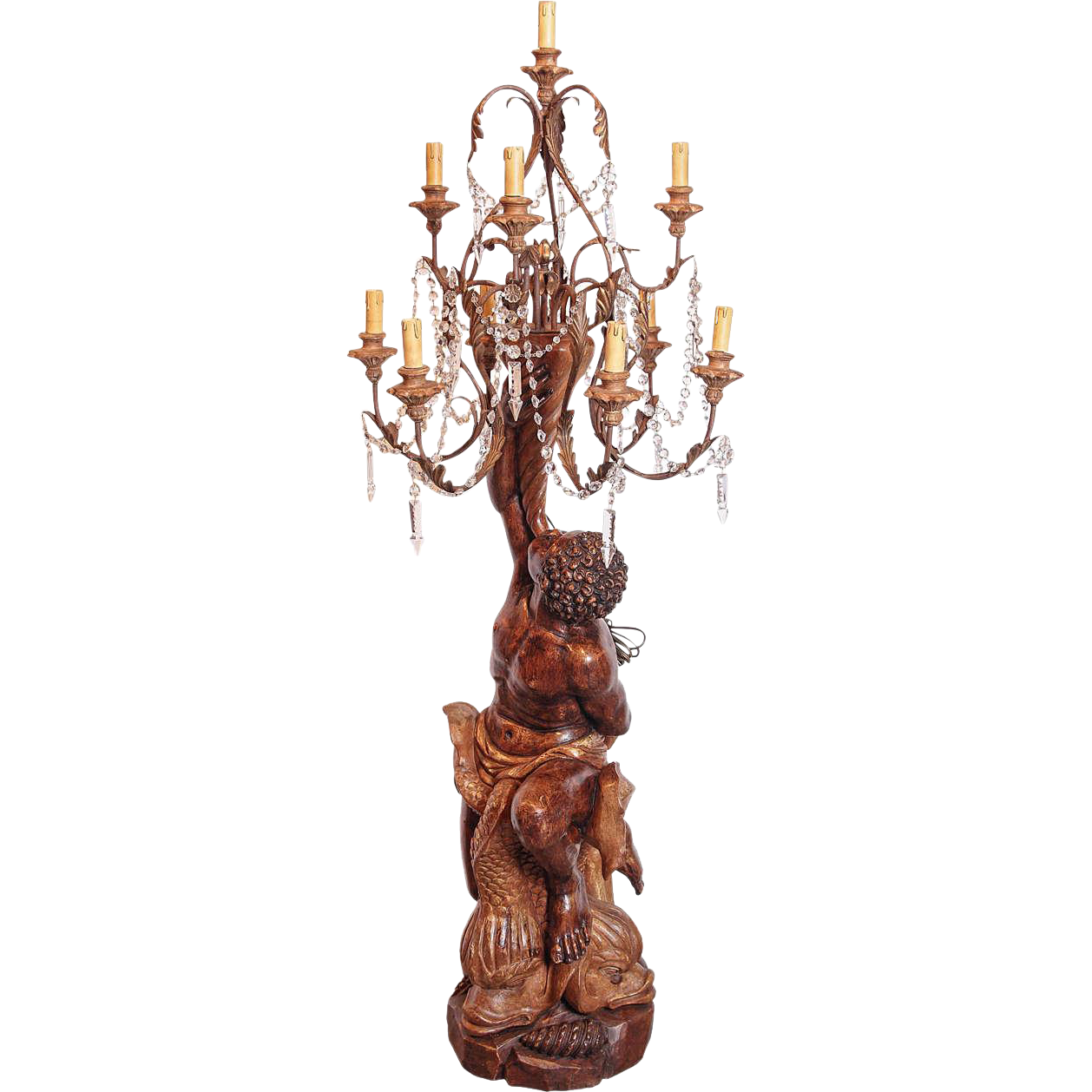 19th Century Carved Wooden Italian Blackamoor Lamp/Torchere