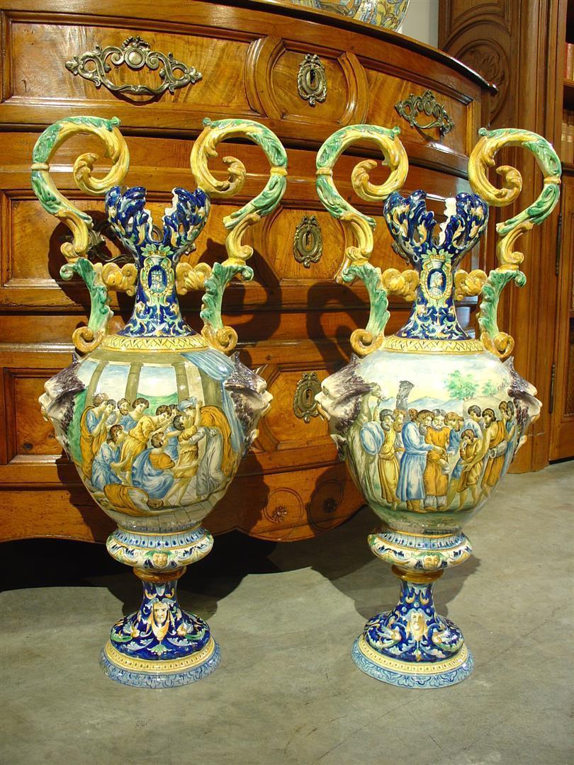 Pair of Antique Italian Vases, Circa 1885